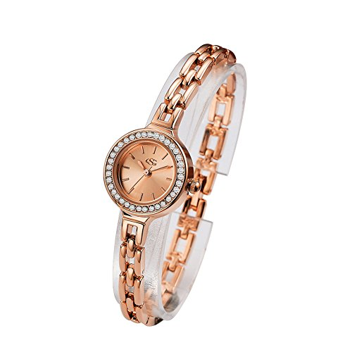 GEORGE SMITH Luxury 22mm Women's Quartz Rhinestone Rose Gold Bracelet Watch Waterproof Crystal Stainless Steel Element Casual Business Dress Analog Wrist Watches for Ladies