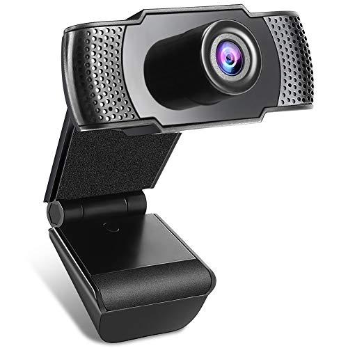 🥇 Anykuu Webcam 1080p Full HD con Micrófono Webcam USB Compatible con Windows para PC Portátil Desktop USB 2.0 Soporta Varias Herramientas de Chat y Software de Videoconferencia
