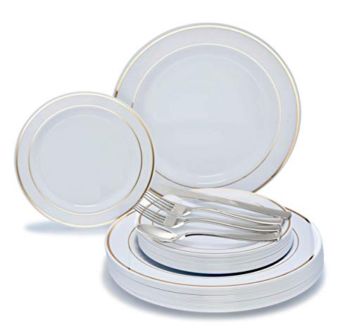 "Price comparison product image "" OCCASIONS"" 360 PCS / 60 GUEST Wedding Disposable Plastic Plate and Silverware Combo Set,  (White / Gold Rim plates,  silver silverware)"
