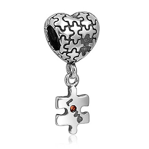 SOUFEEL Heart Shape Dangle Charm 925 Sterling Silver Silver Fit European Bracelets Mother's Day Gifts Shape Dangle Charm