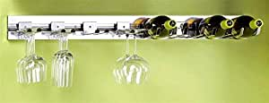 8 Pc 36 In. Stemware Wine Bottle Holder Combo Polished Chrome