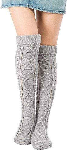 Leotruny Women's Diamond Knit Knee Winter Leg Warmers High Boot Socks (Light Grey) from Leotruny