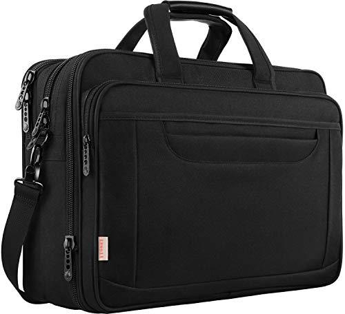 Laptop Bag, 17 Inch Expandable Briefcase for Men Women, Water Resistant Business Laptop Case, Durable Multifunctional Messenger Shoulder Bag Fit 17.3 17 Inch Notebook for Travel Office Work, Black (Hp 17in Laptop Case)