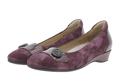 Calzado mujer confort de piel Piesanto 9725 zapato bailarina casual cómodo ancho Burdeos
