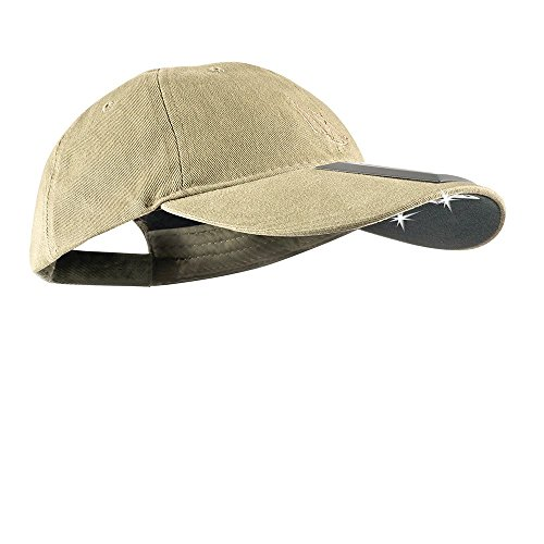 cap LED Solar Cotton 25/75 Ultra-Bright Hands Free Lighted Headlamp Hat (SCUB-7523), Tan, One Size ()