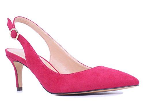 SUNETEDANCE Women's Slingback Pumps Pointed Toe Kitten Heels Sandals Slip On Stiletto Mid Heels Shoes, Suede Peach, US8 B(M) - Pink Slingback
