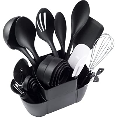 Mainstays Durable Stainless Steel, Nylon, Plastic and Rubber Utensils Kitchen Set, 21pc