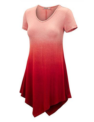 WT1051 Womens V Neck Short Sleeve Ombre Tunic Top S WINE