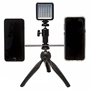 """Livestream Gear - Dual Device Mounting Bar with 2 Ball Heads and Spring Mounts to Fit Regular Sized Smartphone. Includes 1/4""""-20 Threads To Attach Tripod. (Dual Mount Tripod w/Magnets & LED Light)"""