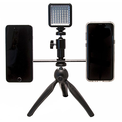 Livestream Gear - Dual Device Mounting Bar with 2 Ball Heads and Magnetic Mounts to Any Smartphone. Includes 1/4''-20 Threads To Attach Tripod. (Dual Mount Tripod w/Magnets & LED Light) by Livestream