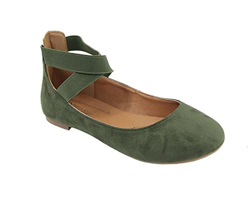 ShoBeautiful Women's Classic Ballerina Flats With Elastic Crossing Ankle Straps Ballet Flat Yoga Flat Shoes Slip On Loafers (8.5, (Classic Olive Green)