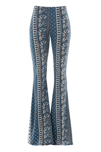 Fashionomics Womens Boho Comfy Stretchy Bell Bottom Flare Pants (L, BH51)