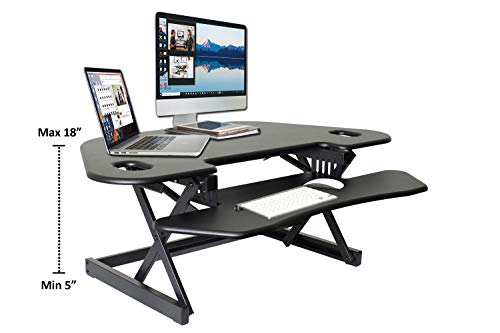 All-New Rocelco Height Adjustable Sit to Standing Corner Desk Riser and Converter (R CADRB-46)