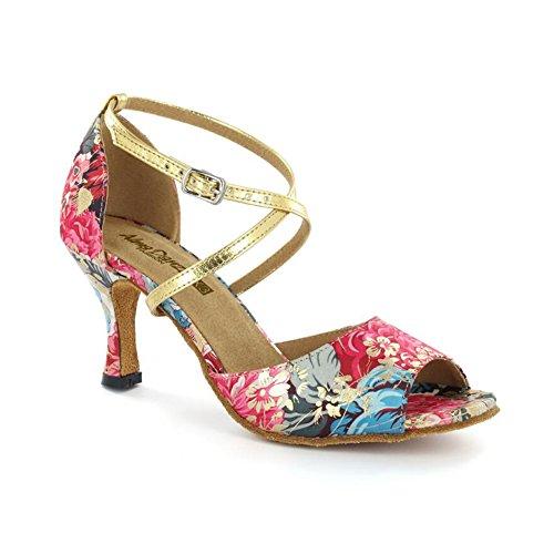 couleur chaussures Latins Fuchsia Souliers Soirée À Talons Boucle fleur 35 Une Salle Pour amp; Femmes Xue Similicuir Une Chaussures Taille De Bal pqITwx