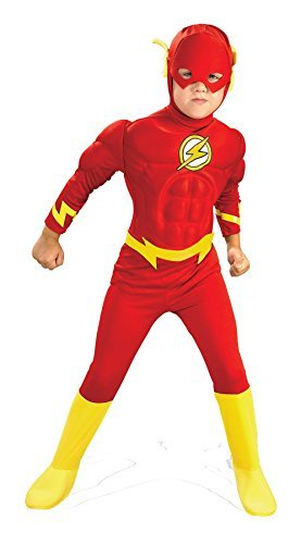 UHC Boy's Flash Deluxe Musc Kids Child Fancy Dress Party Halloween Costume, M (Child Flash Costume)