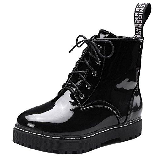 86 Lace Shoes Women Boots Ankle Up Black COOLCEPT Brogue Flatform Fashion zZqRxwS
