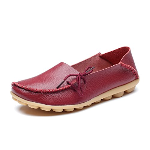 MORNISN Damen Leder Lace-up Casual Schuhe Flache Driving Loafers Weinrot