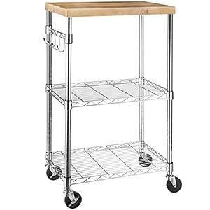 AmazonBasics Microwave Cart on Wheels, Wood/Chrome