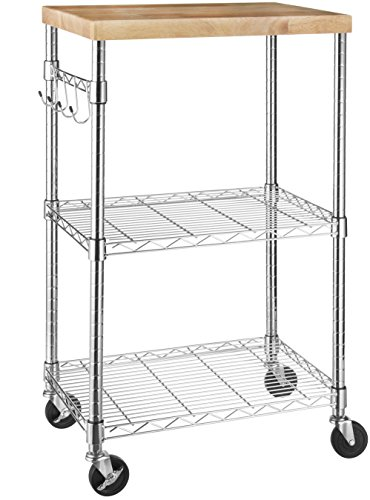 AmazonBasics Kitchen Rolling Microwave Cart on Wheels, Storage Rack, Wood/Chrome (Roll In Pan Cart)