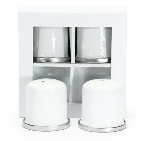 Enamelware, Set of salt & pepper shakers, 1½ inch diameter, 1¾ inch tall, Solid White