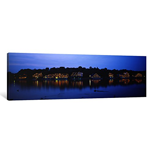 iCanvasART 1 Piece Boathouse Row Lit up at Dusk, Philadelphia, Pennsylvania, USA Canvas Print by Panoramic Images, 12 x 36 x 1.5-Inch