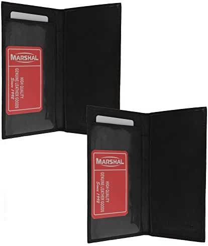 Marshal Checkbook Covers - Set of 2 - Genuine Leather (Black-Black)