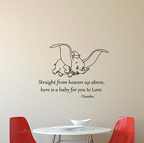 Dumbo Wall Decal Straight From Heaven Up Above Here Is A Baby For You To Love Walt Disney Elephant Quote Lettering Vinyl Sticker Boy Girl Home Bedroom Nursery Decor Art - Disney 407