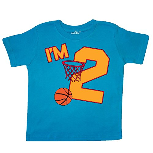 inktastic Im Two! Second Birthday Basketball Toddler T-Shirt 3T Turquoise