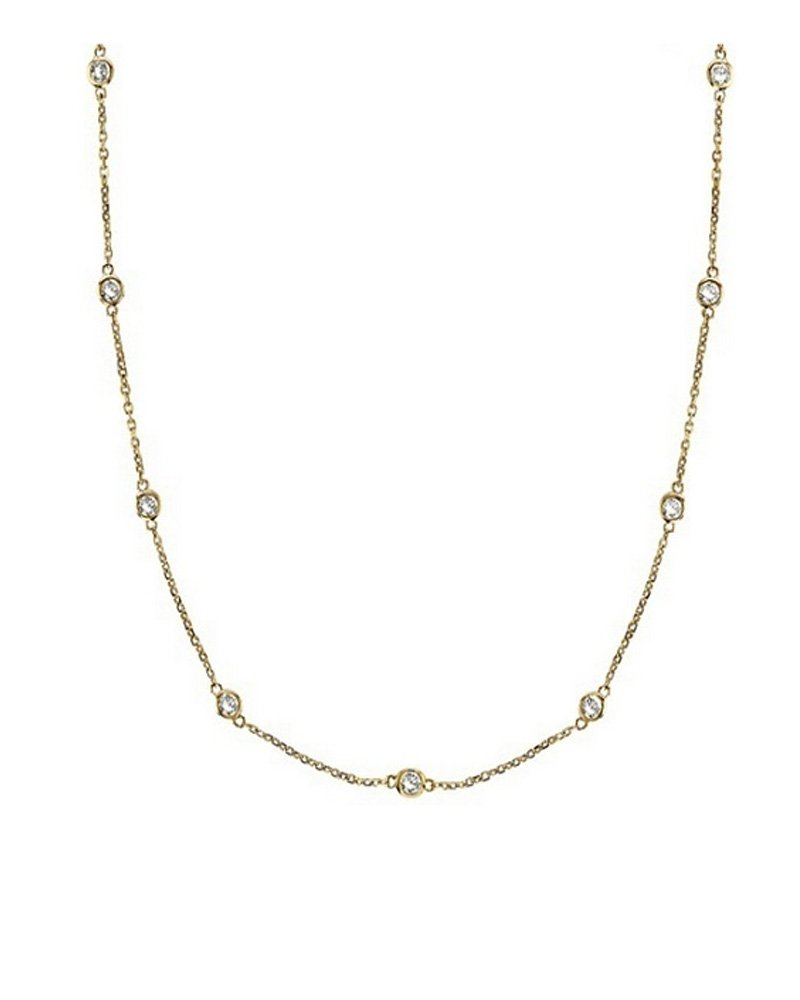 Sterling Silver Gold-plated Cubic Zirconia by the Yard Chain Necklace 24'' 36'' 54'' Inches - 54''
