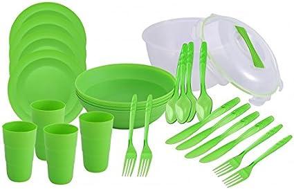 Renberg - Set de 26 piezas para picnic para 4 personas (cuenco con tapa, platos, boles, vasos, cubiertos)