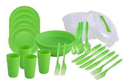Renberg - Set de 26 piezas para picnic para 4 personas (cuenco con tapa,