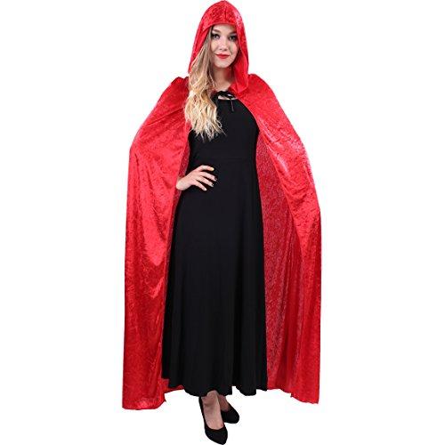 flatwhite Women's Full Length Crushed Velvet Hooded Cape Costumes (Red) -