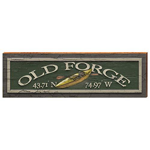 Old Forge New York Kayak Latitude Longitude Home Decor Art Print on Real Wood (9.5