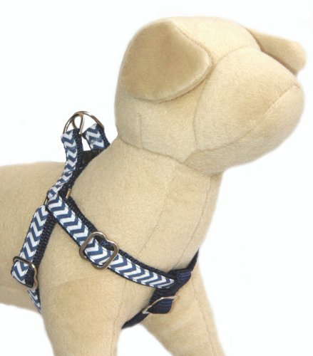 Dog harness : Denim blue & off white chevron cotton fabric pet harness with navy nylon backing for puppy, small dog to big dog. Handcrafted and made in USA. M 1