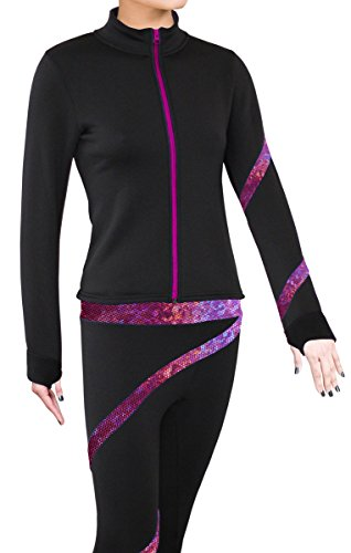 ny2 Sportswear Figure Skating Polartec Polar Fleece Spiral Jacket (Hologram Foil Fuchsia, Child Large) ()