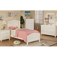 Wooden Twin Bed in White Finish #PD F91049