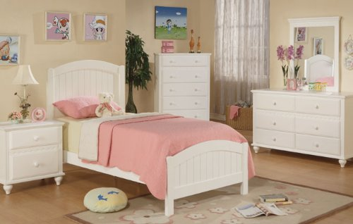 Poundex F9049 Contemporary White Finish Kids Twin Bed
