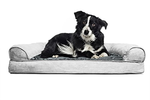 FurHaven Large Plush & Suede Orthopedic Sofa Pet Bed for Dogs and Cats, Gray