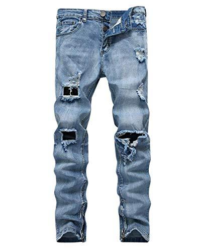 Jeans Vaqueros Strech Moda Hellblau Mezclilla Pantalones Chern De Hoyos Slim Hombres Los Casuales Skinny Fit Destruidos fwpxHnqOd