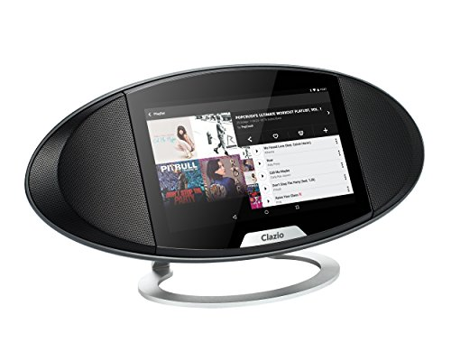 Clazio Wireless Touchscreen Smart Speaker, WiFi+Bluetooth, Android OS, 7″ Touchscreen Speaker with Voice Control for Alexa or OK Google to stream Amazon Music Spotify iHeartRadio, Black