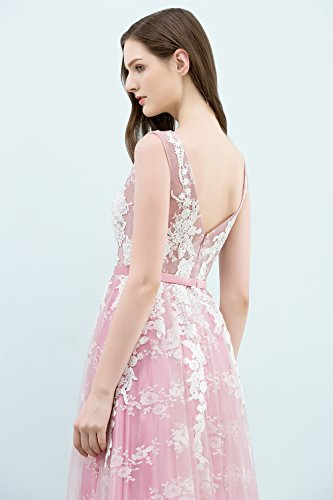 Ball Dress Abiballkleid Lang Rosa Damen Prom Abendkleid Applique Tüll Rückenfrei Misshow Elegant HA1qWS