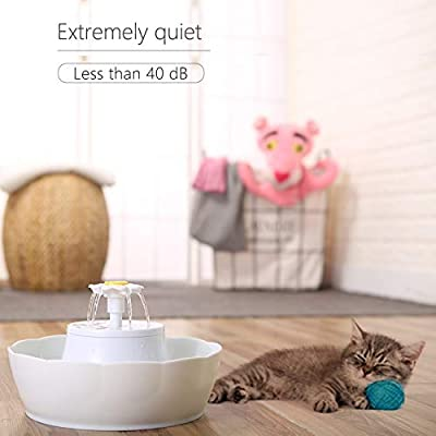 Lotus Pet Fountain Cat Fountain Dog Fountain 97 oz/2.6L Dual Filters Fresh Clean Water Ultra Quiet 3 Ways to Enjoy Drinking from Wonder Creature