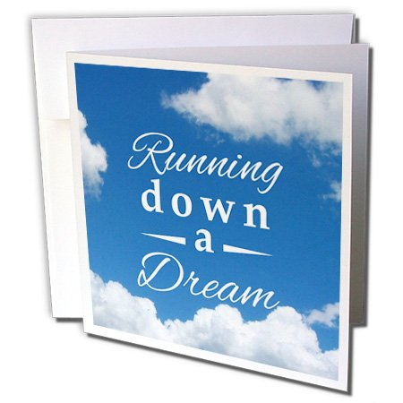 3dRose InspirationzStore Sports - Running down a Dream typography text on sky blue - Gifts for runners - running race racing marathon - 12 Greeting Cards with envelopes (Marathon Greeting Cards)