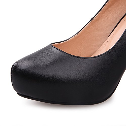 Cow Shoes Black Pumps Round Women's Leather WeenFashion Toe High Platform with Heels fw5AFWKx6