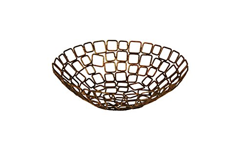 Front of the House BBK011GOI22 Coppered Wireware Link Basket, 10'' Diameter, 3'' Height, (Pack of 6) by Front of the House