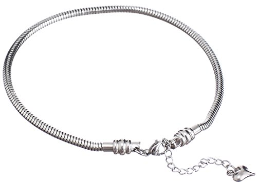 Cat Eye Jewels Stainless Steel Snake Chain Starter Charm Bracelet(7Inch) (Year Of The Snake Pendant)