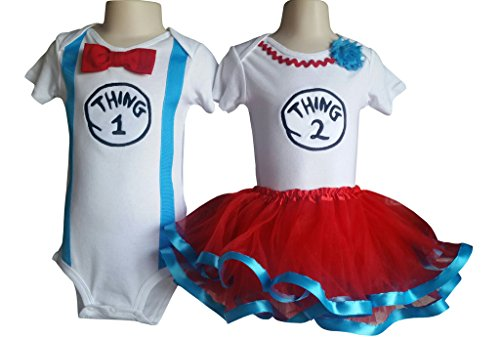 Boy Girl Twin Outfits Thing 1 and Thing 2 Tutu Perfect Pairz USA Made Outfit (Thing 1 Thing 2 Outfits)