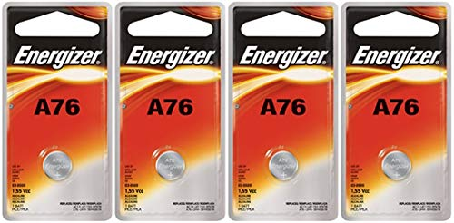 1.55v Button - Energizer A76 LR44 1.55V Button Cell Alkaline Batteries (Individually Packaged Each with Retail Hanging Tab) x 4