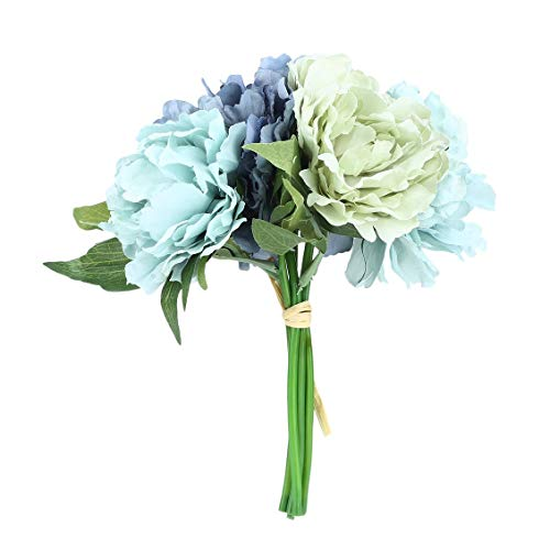 Chelsea 5 Heads Special Peony Bridal Bouquet Artificial Flowers Wedding Bouquet Blue