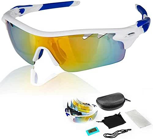 BVIOS Polarized Cycling Sun Glasses Outdoor Sports Bicycle Sunglasses Ski Goggles Eyewear Cool with Exchangeable 5 (1-set, White-Blue)